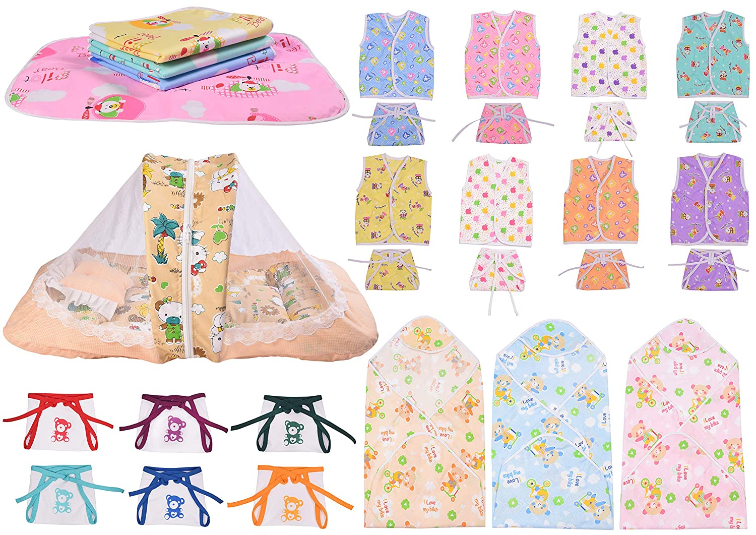 Baby Fly Newborn Baby Combo of 8 Cotton Jhabla with 8 Cotton Nappies, 1 Net Bed, 6 Hosiery Nappies, 3 Blankets for Baby and 4 Plastic Sheet Waterproof (0-6 Months)