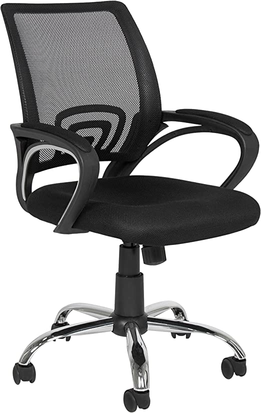 Amazon Com Best Choice Products Ergonomic Mesh Office Desk Chair Rolling Mid Back Home Office Computer Task Chair 360 Swivel W Metal Base For Stability Black Home Kitchen
