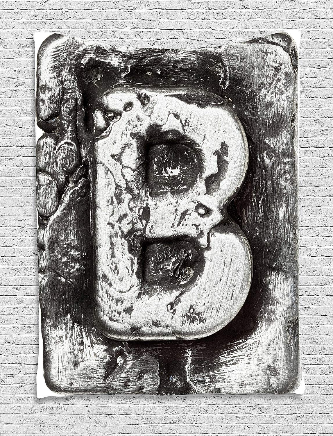 THndjsh Letter B Tapestry, Steel Aged B with Toned Cracks and Distressed Effects Ceramic Inspired Print, Wall Hanging for Bedroom Living Room Dorm, 60 W X 80 L Inches, Silver Grey
