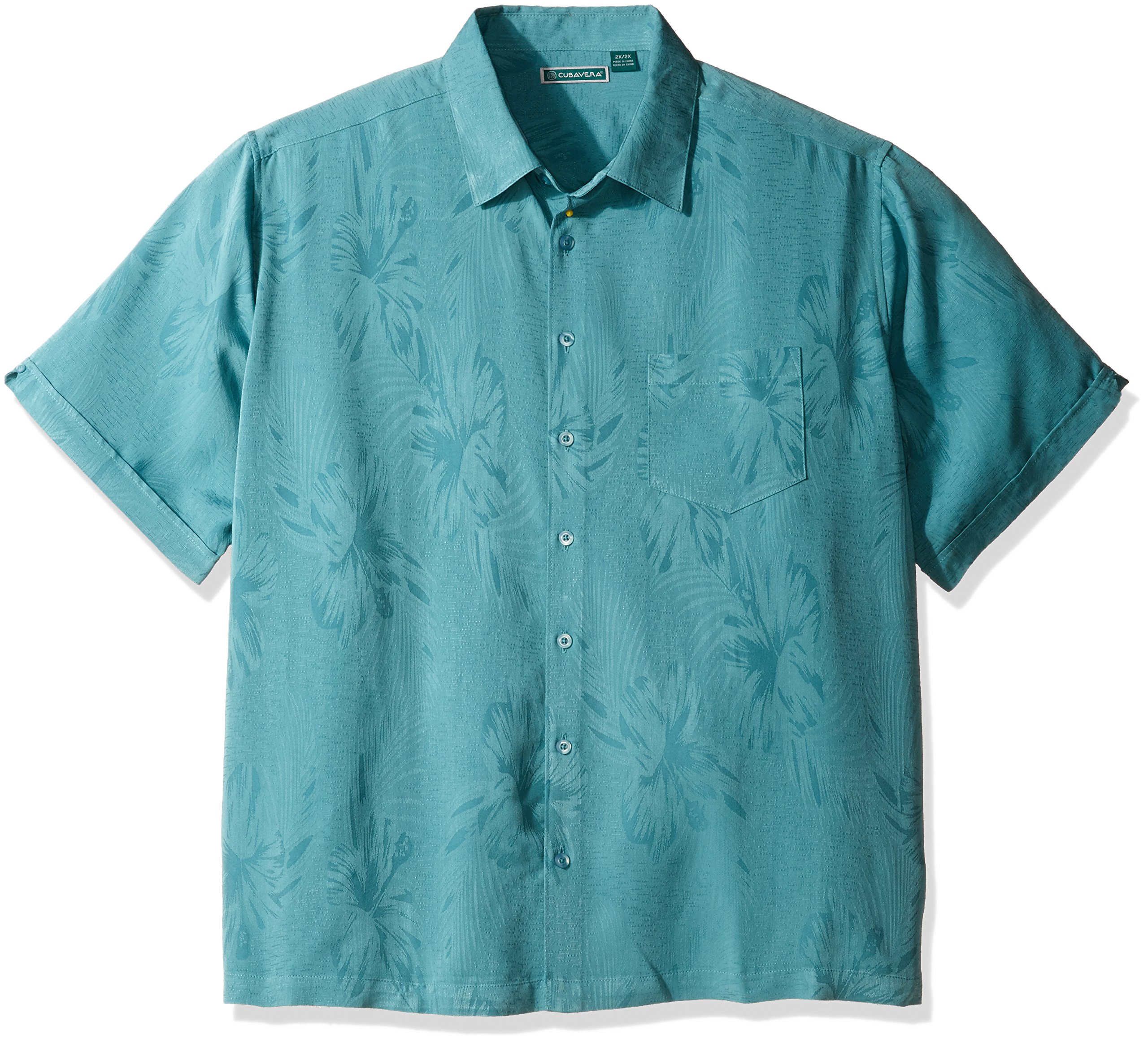 Cubavera Men's Tall Short Sleeve Polyester L-Shape Embroidered Button-Down Shirt, Colonial Blue, 3X-Large Big