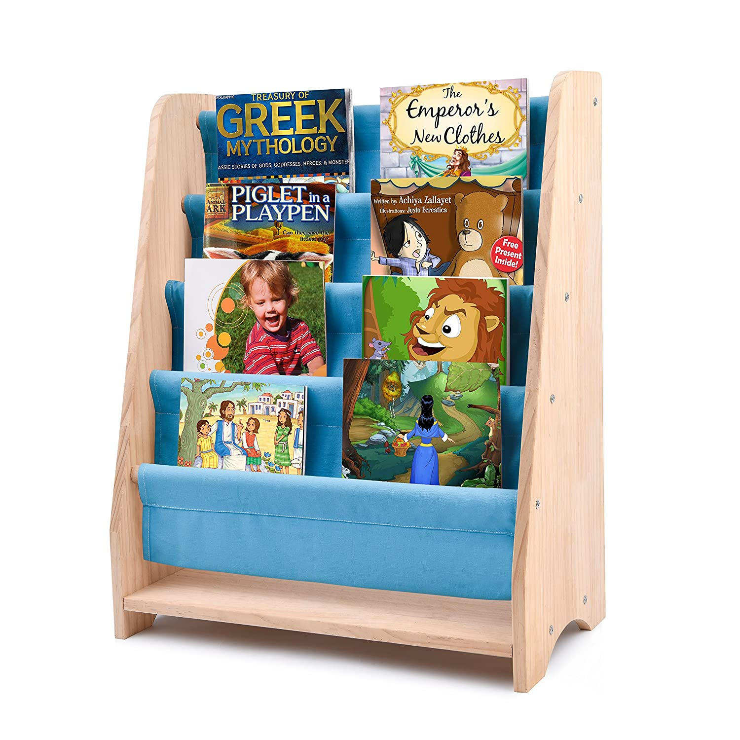 Kids Sling Bookcase Safe Care Childrens Wooden Rack Storage Bookshelf Features Suitable Height For Toddler With