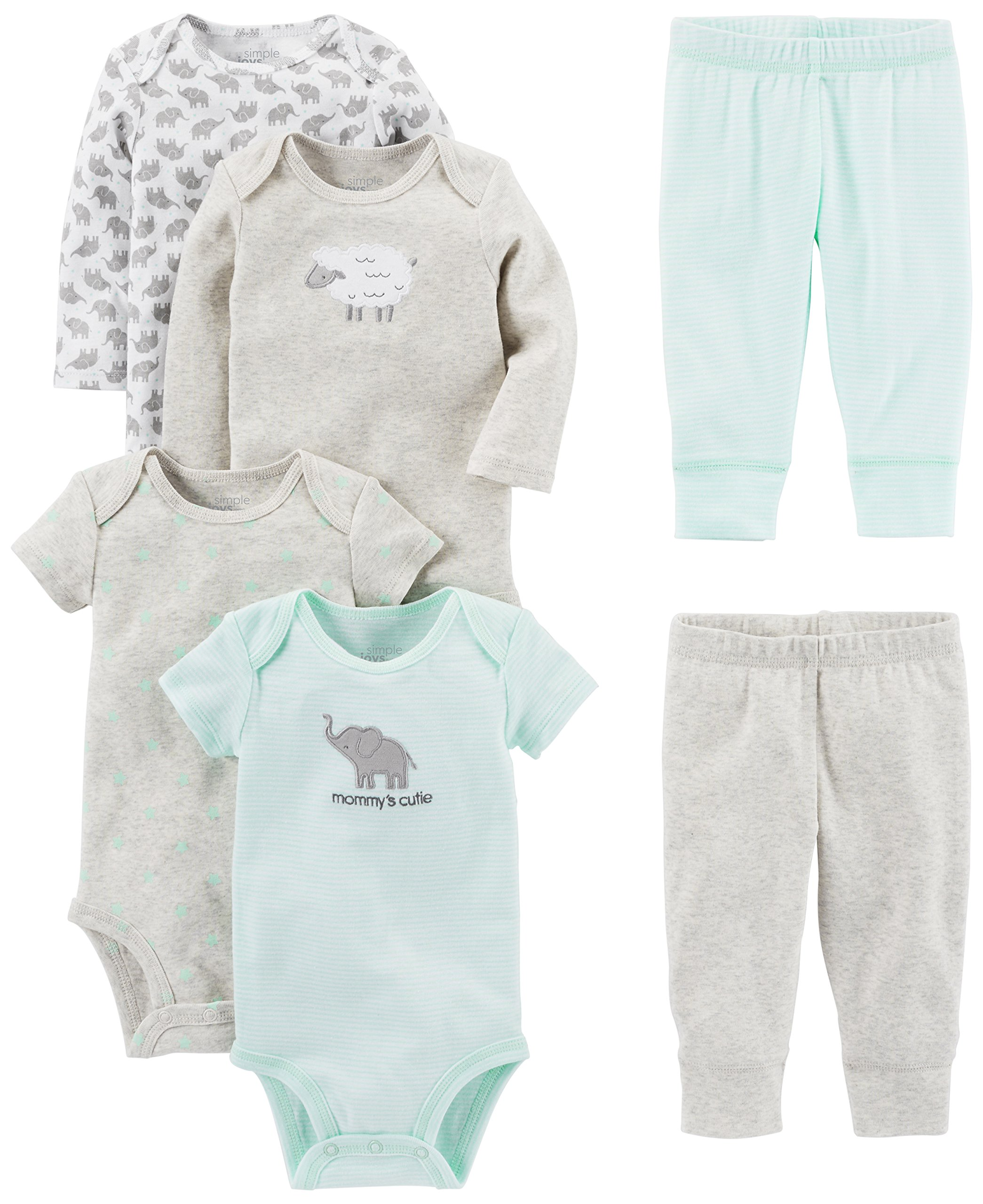 Simple Joys by Carter's Baby 6-Piece Little Character Set, Gray Lamb, 0-3 Months