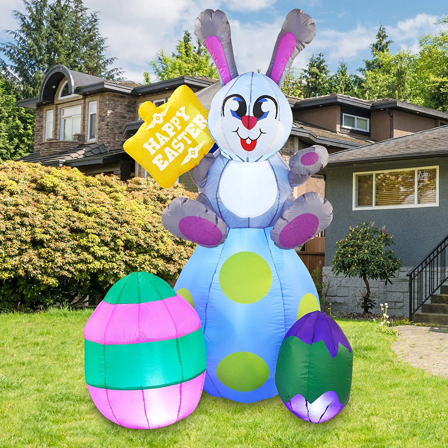 Joiedomi Easter Inflatable Outdoor Decoration 6 ft Tall Easter Bunny & Eggs with Build-in LEDs Blow Up Inflatables for Easter Holiday Party Indoor, Yard, Garden, Lawn Fall Decor.