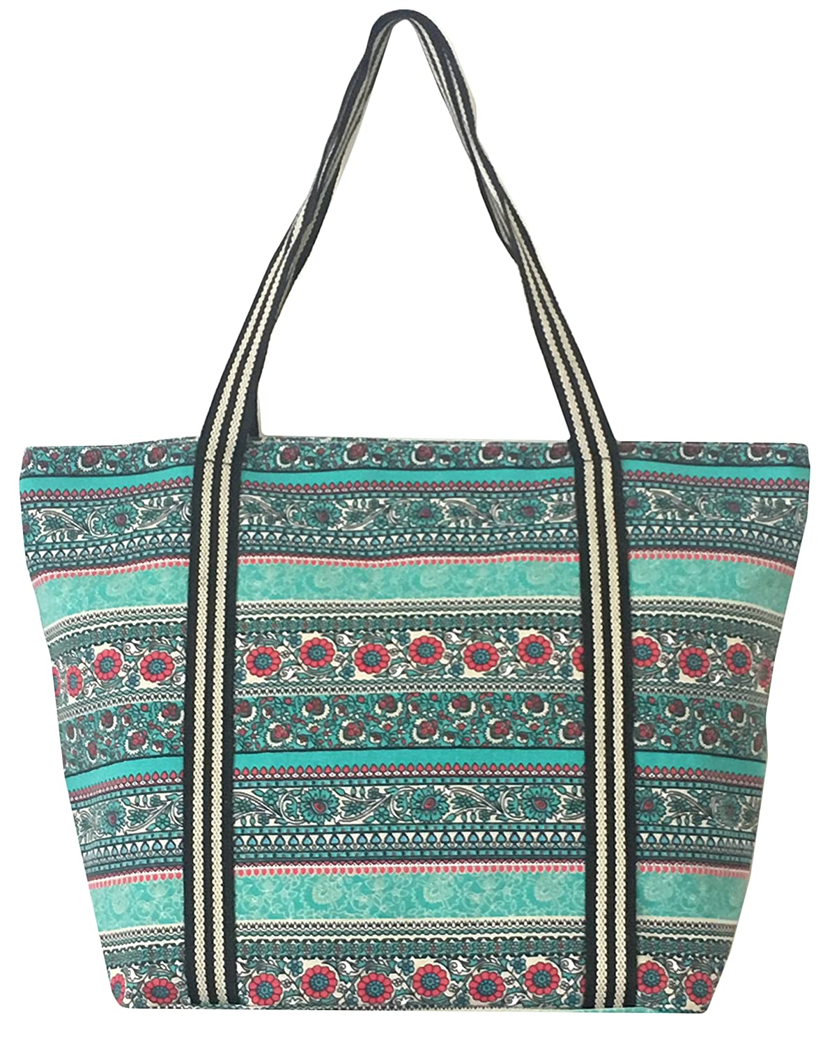 798ef82173 Amazon.com  Large Utility Canvas and Nylon Travel Tote Bag Beach Bag For  Women and Girls (B.MINT)  Computers   Accessories