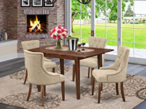 5Pc Dining Set Includes a Rectangle Dinette Table with Butterfly Leaf and Four Parson Chairs with Doeskin Fabric, Mahogany Finish