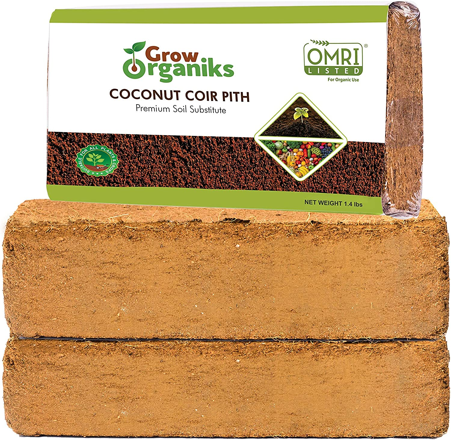 Grow Organiks Coco Coir Pith,Coco Peat Brick-1.4 lbs EA,(2 Bricks) OMRI Listed for Organic Use, Expansion Between 10-12L,Universal Potting Substrate for All Plants & Crops.