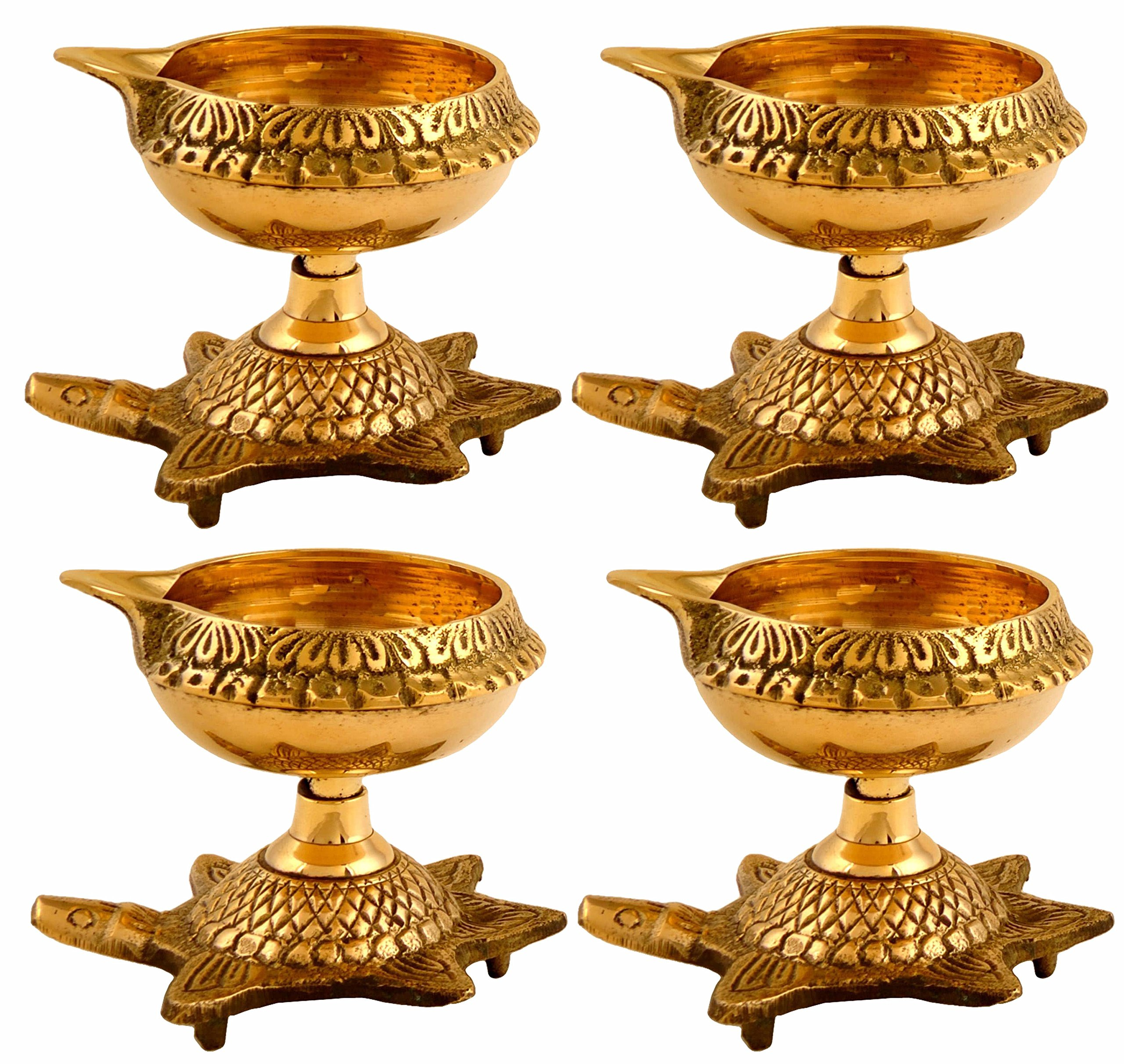 Hashcart Set of 20 Handmade Indian Puja Brass Oil Lamp - Golden Diya Lamp Engraved Design Dia with Turtle Base