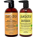 PURA D'OR MD Anti-Thinning Shampoo w/ Biotin, Coal-Tar 19+ Herbal Blend & Deep Moisturizing Conditioner Set: Reduce Hair…