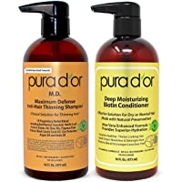 PURA D'OR MD Anti-Thinning Shampoo w/ Biotin, Coal-Tar 19+ Herbal Blend & Deep Moisturizing...