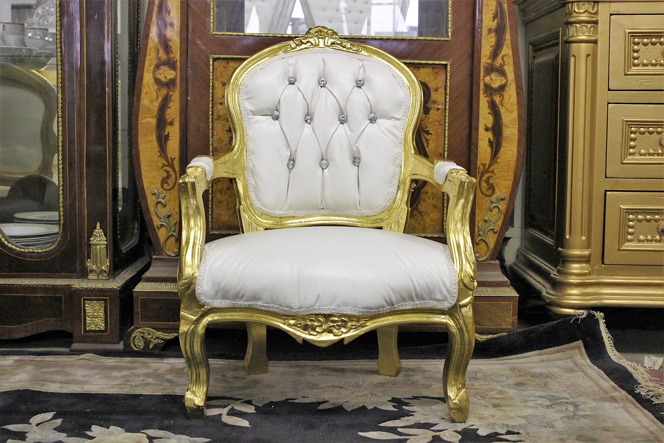 Mini ''Victoria'' Children's Throne Chair - Baby Throne - 27'' Height - Gold by Throne Kingdom