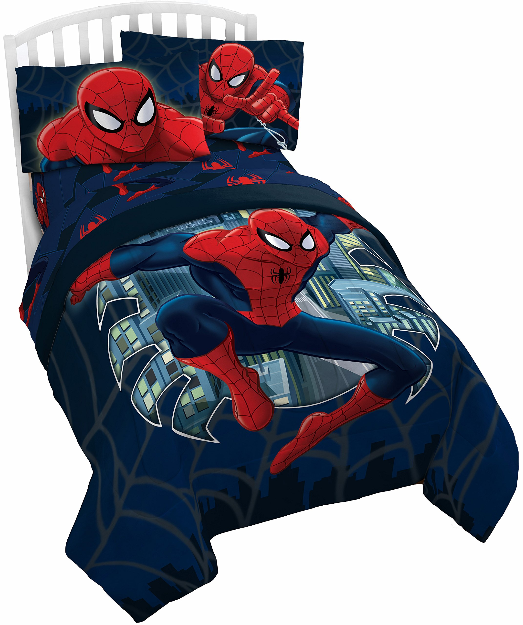 Marvel Spider Man Saving the Day Twin/Full Comforter - Super Soft Kids Reversible Bedding features Spiderman - Fade Resistant Polyester Microfiber Fill (Official Product)