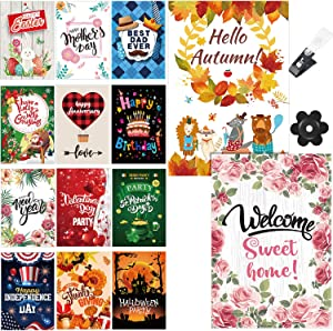 14 Sets Seasonal Garden Flags, Christmas Valentine's Holiday Yard Flag Double Sided Design Garden Outdoor Decorative Flag with Anti-Wind Clip and Stopper for Most Seasons and Holidays,12 x 18 Inch
