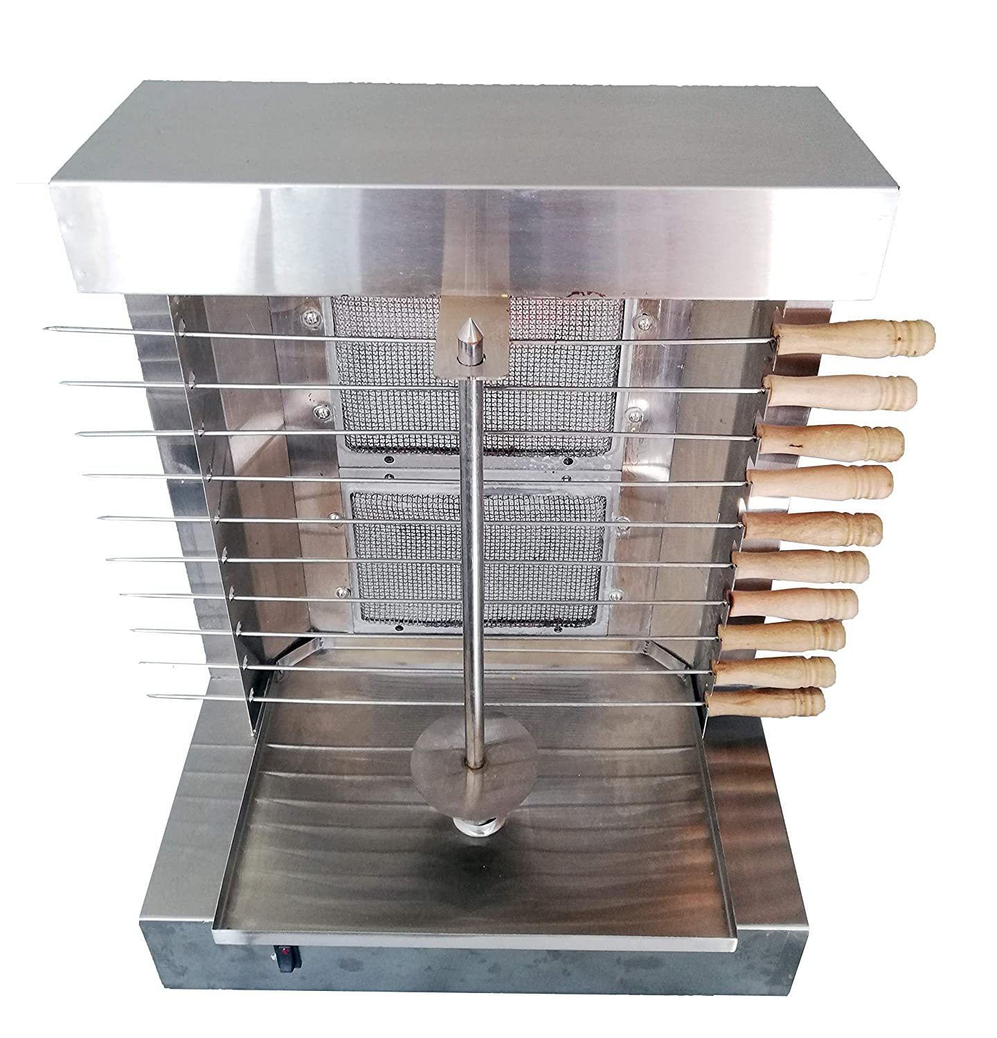 Bioexcel Tacos Al Pastor Doner Kebab Shawarma Gas Burner Grill - Vertical Broiler - Automatic 2 Burners Machine with 10 Side Kebab Skewers Burners Propane Gas