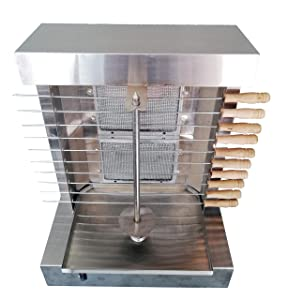 Bioexcel Tacos Al Pastor Doner Kebab Shawarma Gas Burner Grill - Vertical Broiler - Automatic 2 Burners Machine with 10 Side Kebab Skewers Burners Propane Gas