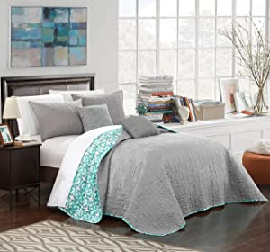 Chic Home Anat 4 Piece Quilt Set, Twin, Grey