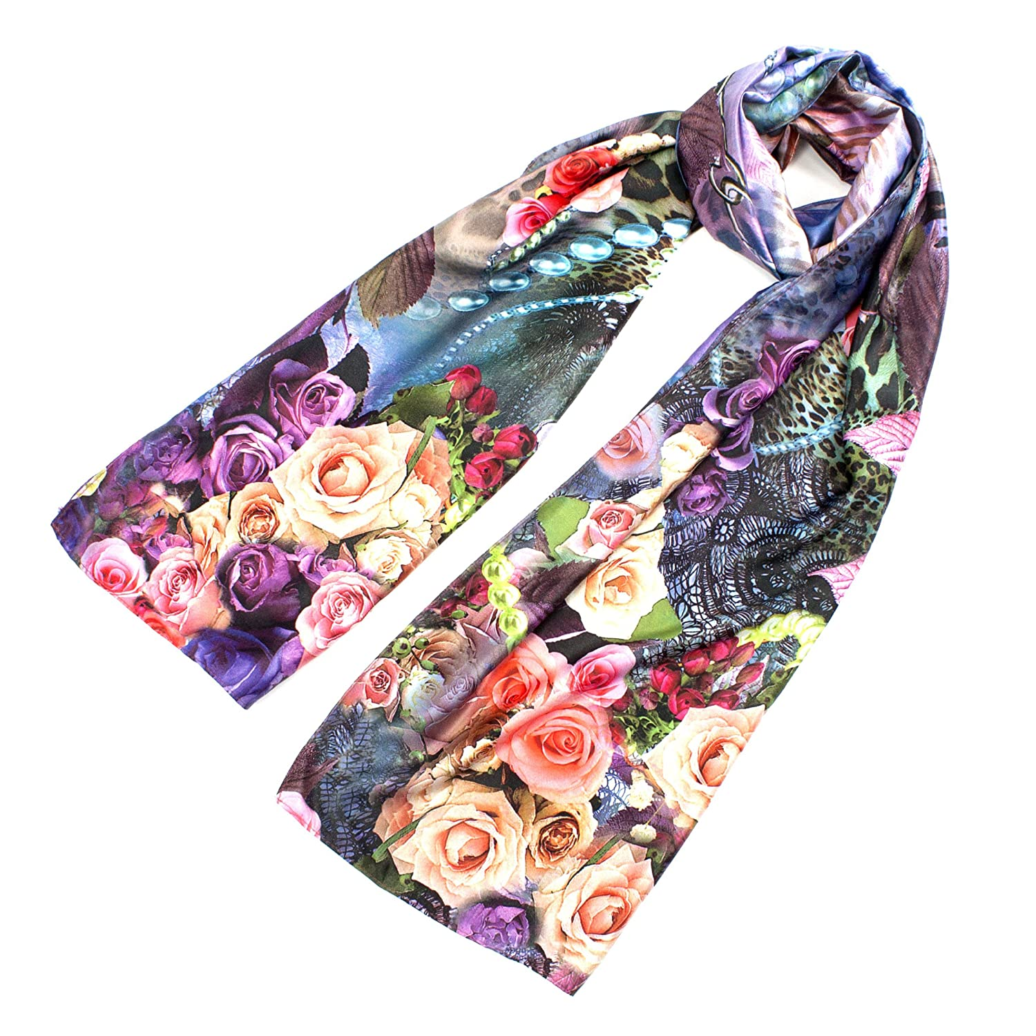 Leisureland Women's Silk Mixed Vintage Floral Rose Design Fashion Scarf