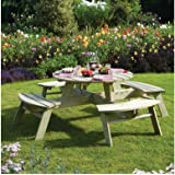 Rowlinson 8-Seater Round Pressure Treated Wood Picnic Table