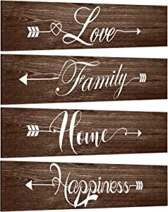 Jetec 4 Pieces Rustic Wood Arrow Sign Wall Decor Farmhouse Home Wall Sign Live Love Faith Laugh Signs Farmhouse Entryway Sign for Home Office Kitchen Living Room Decor, 12 x 3 x 0.2 Inch