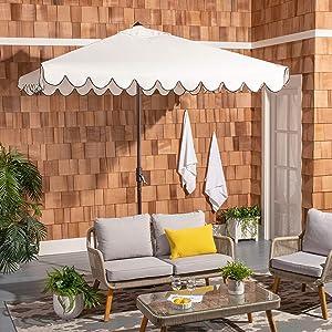 """Safavieh PAT8410E Outdoor Venice White and Black 7'6"""" Square Crank UV Protected Umbrella"""
