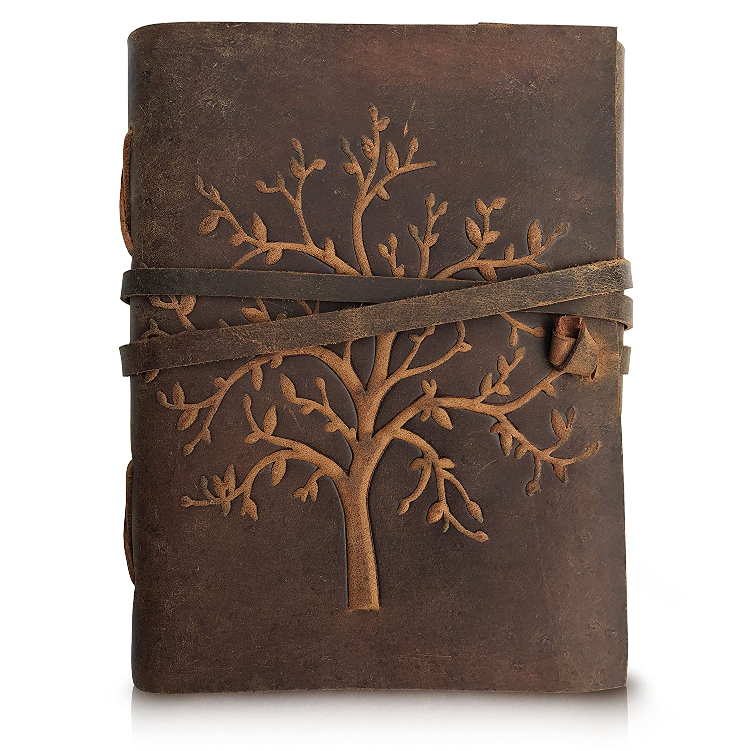 1623a9fcf832 Leather Journal Tree of Life - Writing Notebook Handmade Leather Bound  Daily Notepads for Men and Women Blank Paper Large 8 x 6 Inches - Gift for  Art ...