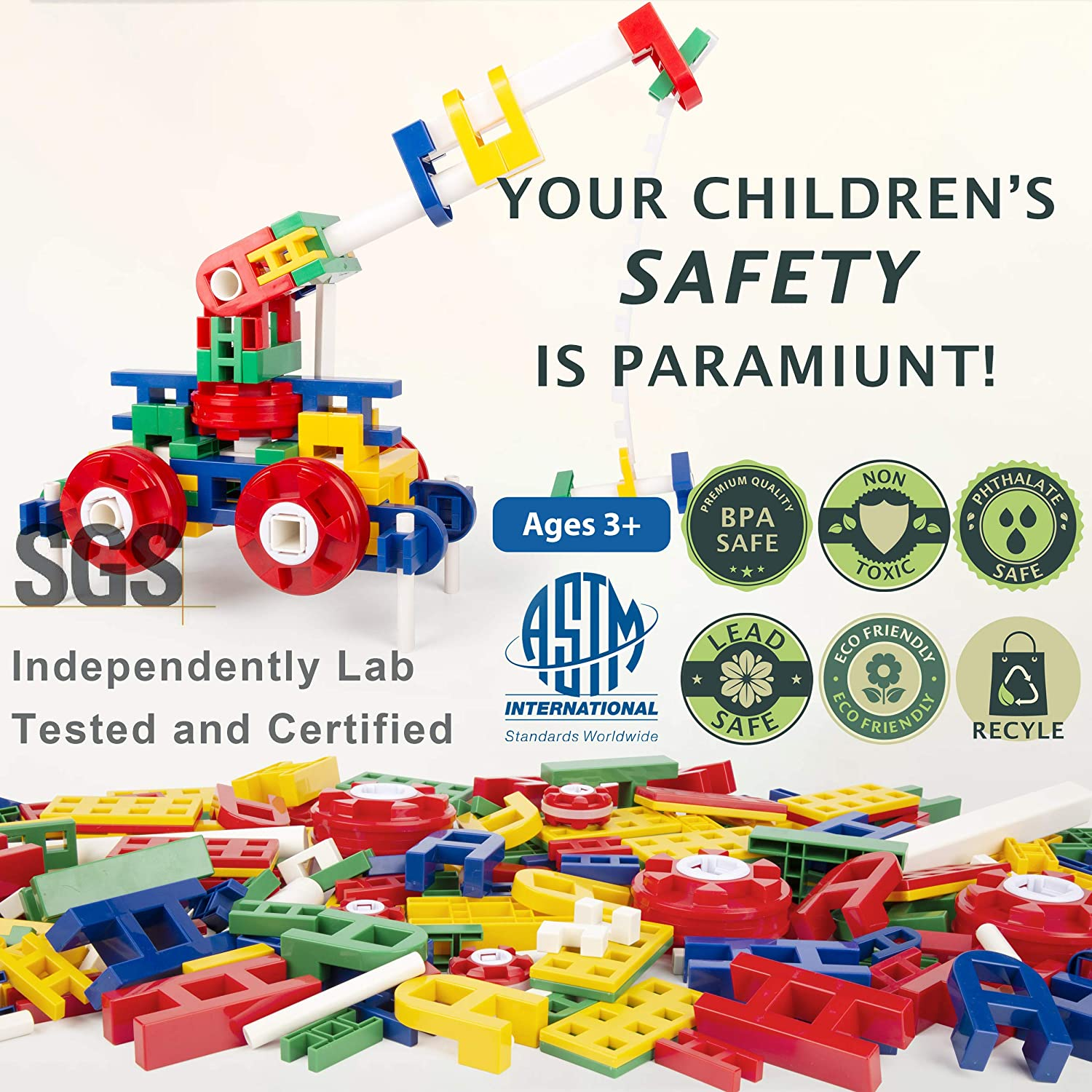cossy STEM Learning Toy with Big Blocks, Engineering ...