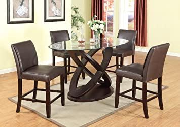 Roundhill Furniture Cicicol 5 Piece Counter Height Glass Top Dining Table  With Chairs, Espresso