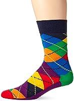 Happy Socks Men's 1 Pack Unisex Combed Cotton Crew-Bright Argyle