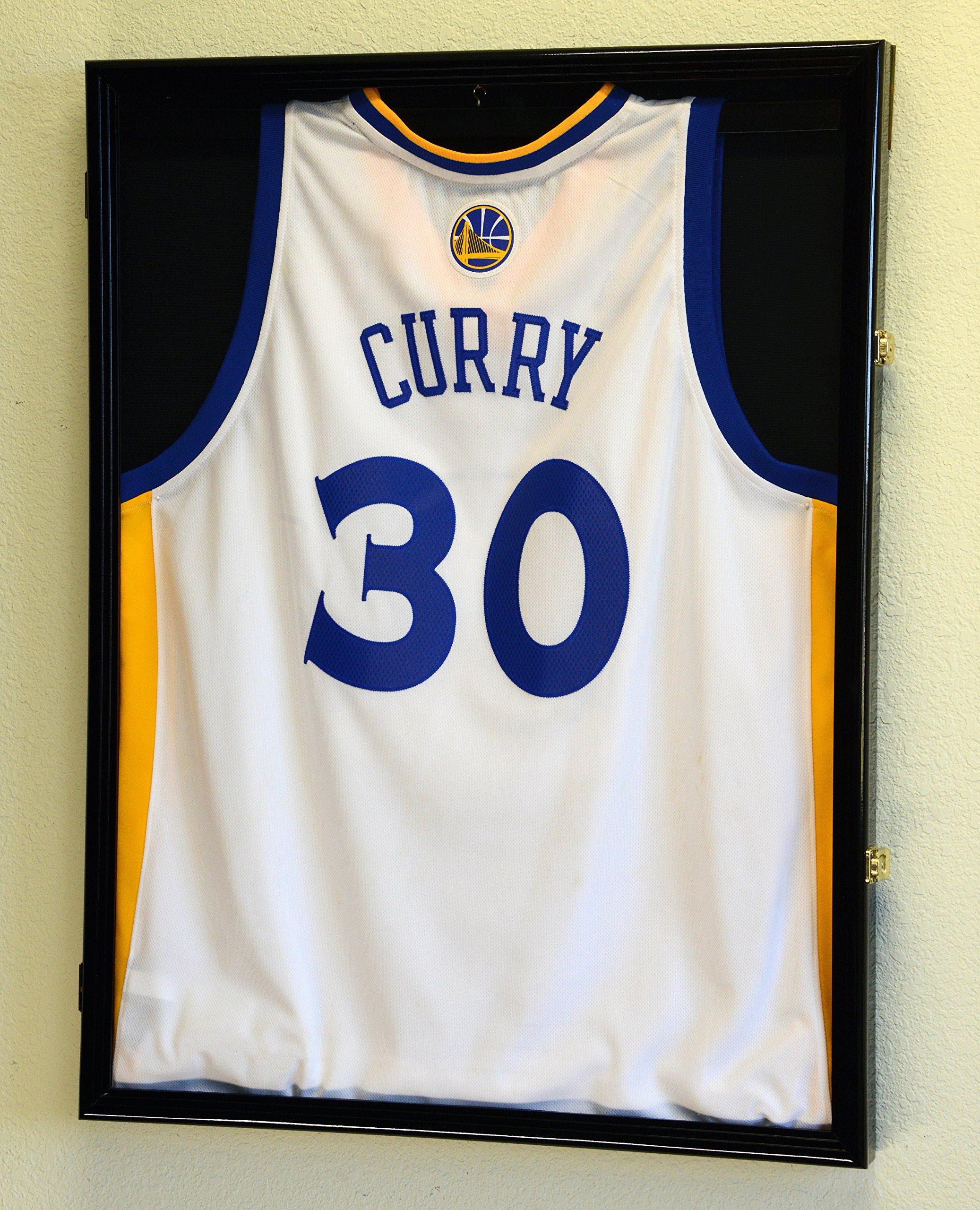NBA Basketballl Jersey Display Case Cabinet Shadow Box, Black Finished