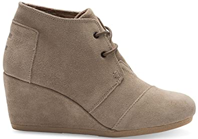 Toms Womens Desert Wedge Taupe Suede Size 5