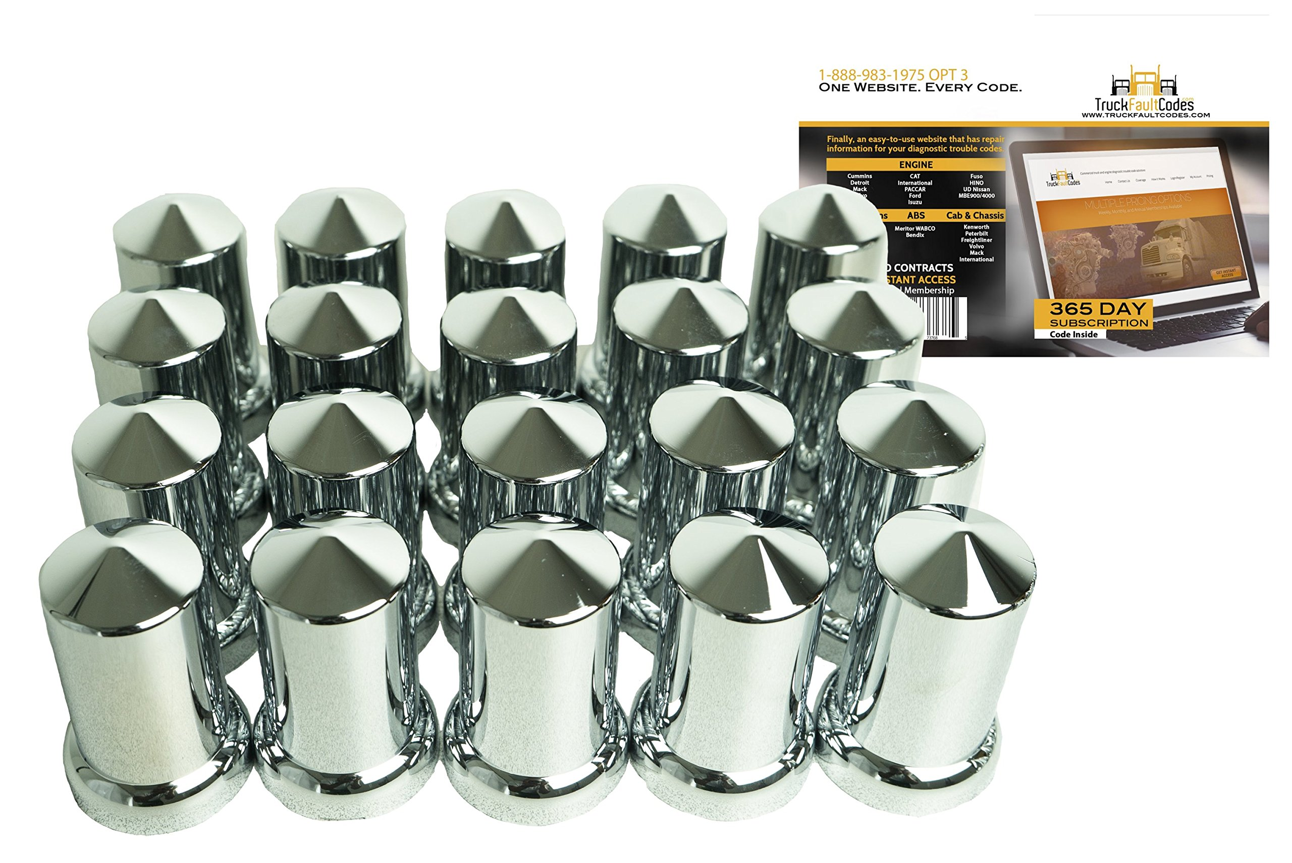 Diesel Laptops 20 Pack of 33mm x 3-1/8'' Chrome Pointed Push on Nut Cover for Commercial Heavy Semi Trucks with 12-month Membership to TruckFaultCodes