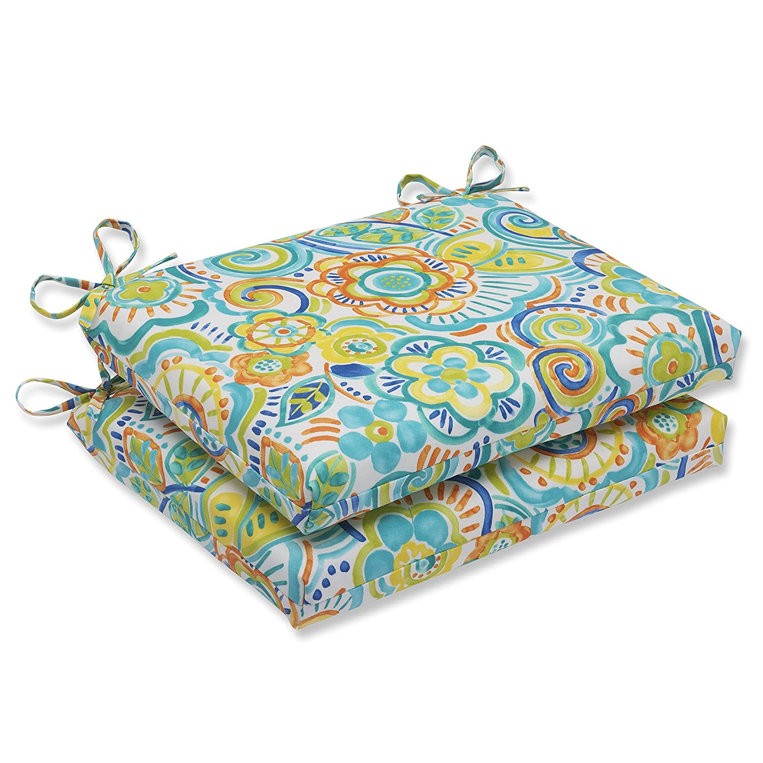 Pillow Perfect Outdoor Bronwood Caribbean Squared Corners Seat Cushion, Multicolored, Set of 2