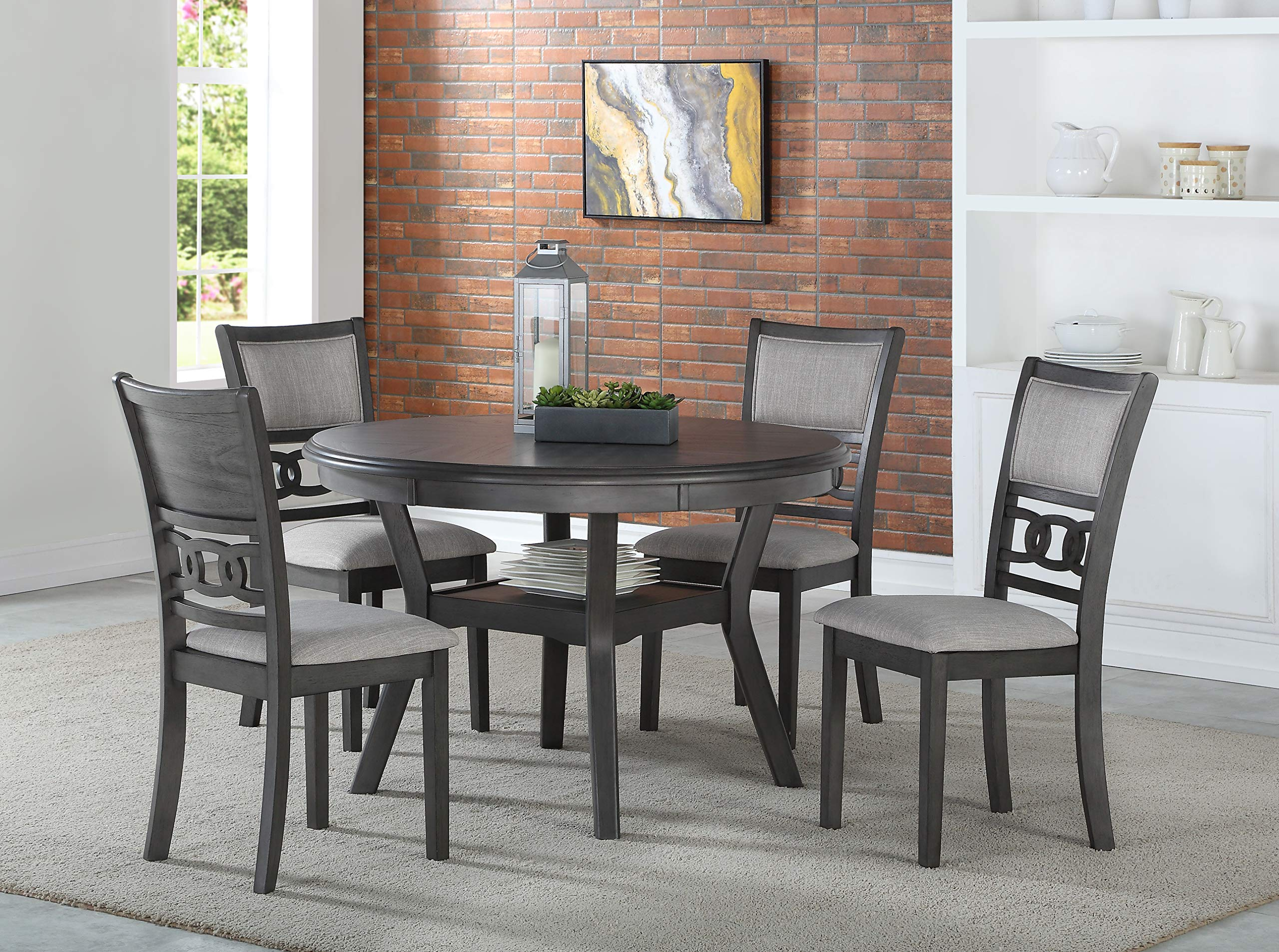 New Classic Furniture D1701-50S-GRY Gia Round Dining Set, Gray by New Classic Furniture