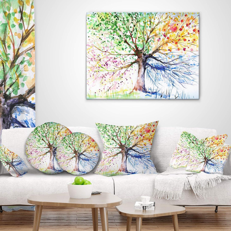 Designart CU6347-26-26 Four Seasons Tree Throw Pillow 26 in x 26 in.