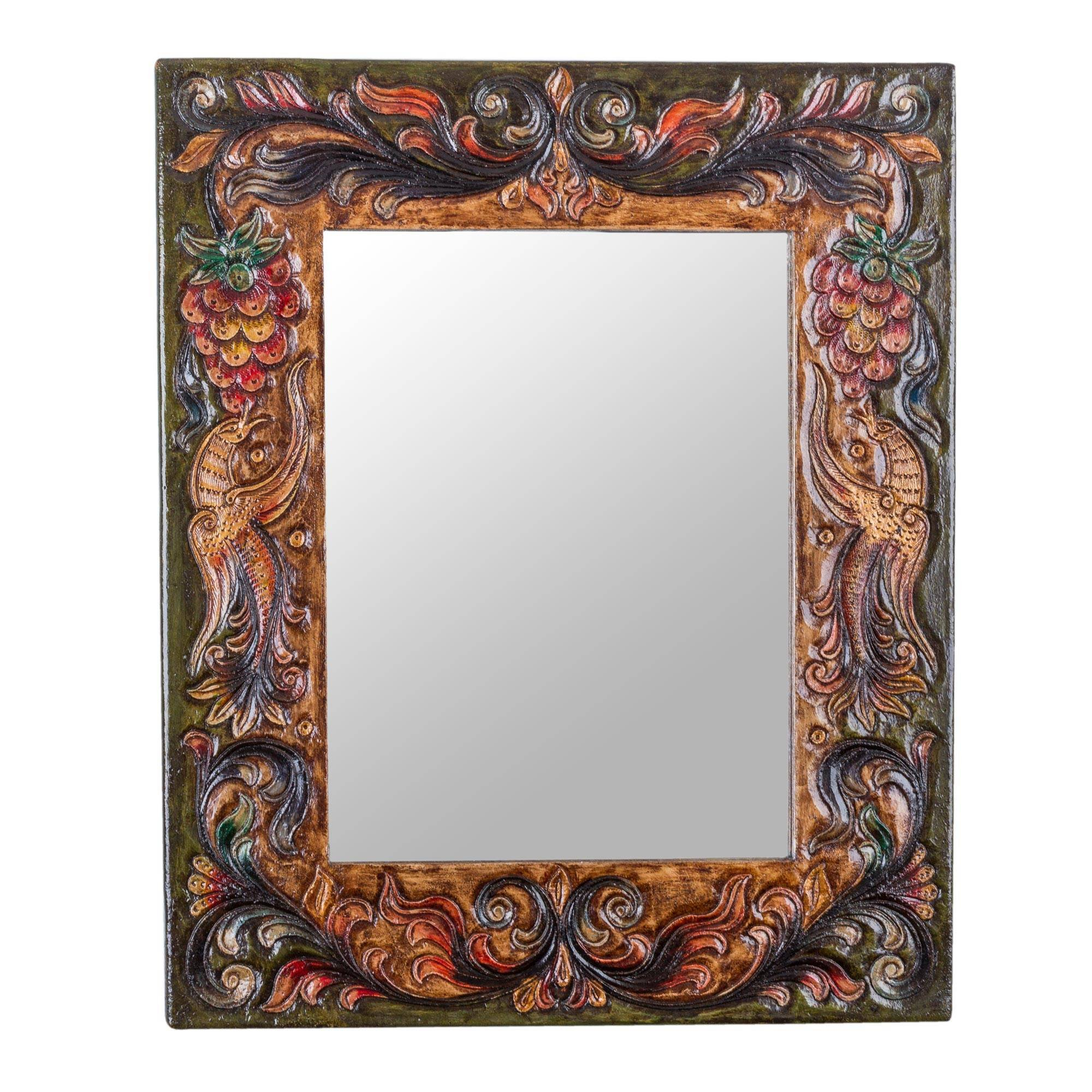 NOVICA Animal Themed Wood Wall Mounted Mirror, Multicolor 'Luminous Rebirth'