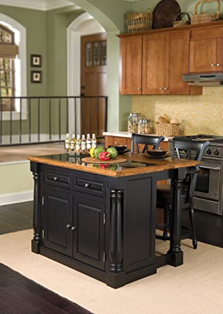Monarch Black Kitchen Island with Granite Top & 2 Stools by Home Styles
