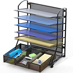 SimpleHouseware 6 Trays Desk Document File Tray Organizer with Supplies Sliding Drawer, Black