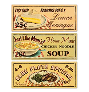 Gango Home Décor 50's Style Diner Signs; Blue Plate Special, Just Like Mom, Famous Pies; Three 20x8 Posters