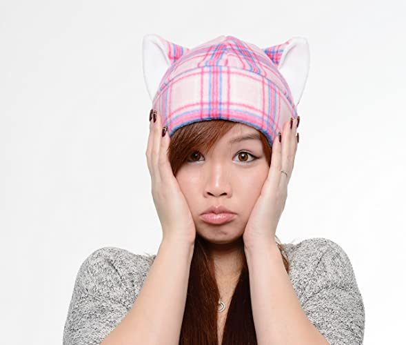 6ba0d87b Amazon.com: Pink Cat Plaid Ear Hat Toque Beanie Feline Kitty Kitten Fleece  Anime Manga Ski Snowboarding Convention Goth Punk Rave Costume Cosplay:  Handmade