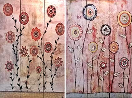 Bellaa 3 Panel Double Sided Painting Canvas Room Divider Screen Abstract Paintings