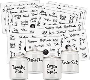 Good Karma Studio 195 Laundry Room, Storage Bin, Linen Closet, Home Office, Bathroom and Beauty Organization Labels + 15 Blank Labels, Labels for Storage Bins, Pantry Labels