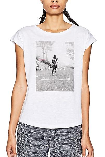 Esprit 018ei1k009-Running Print, Top de Deporte para Mujer, Blanco (White 100), 40 (Talla del Fabricante: Medium)