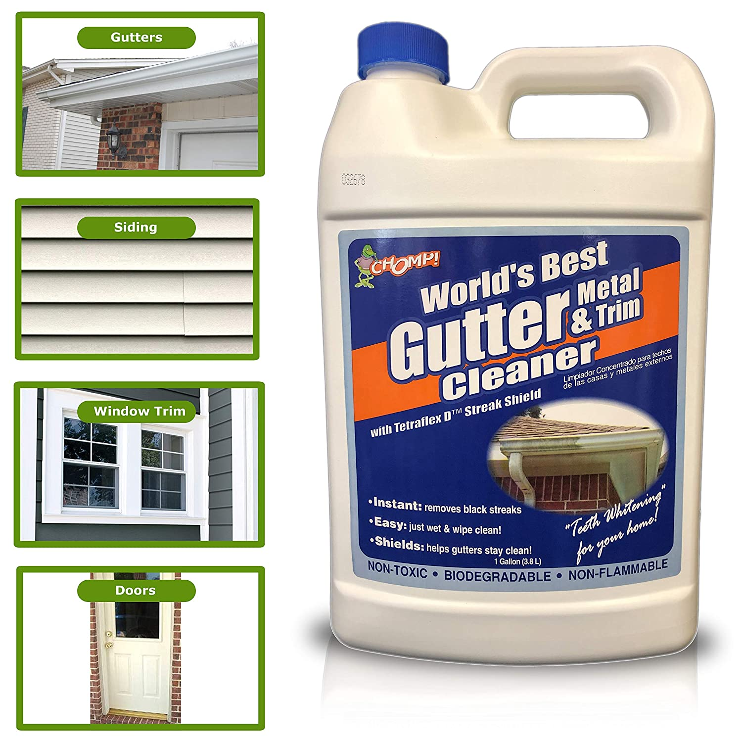 Amazon com chomp worlds best instant cleaning and removal of black streaks algae mold mildew oxidation professional and diy gutter siding cleaner 1