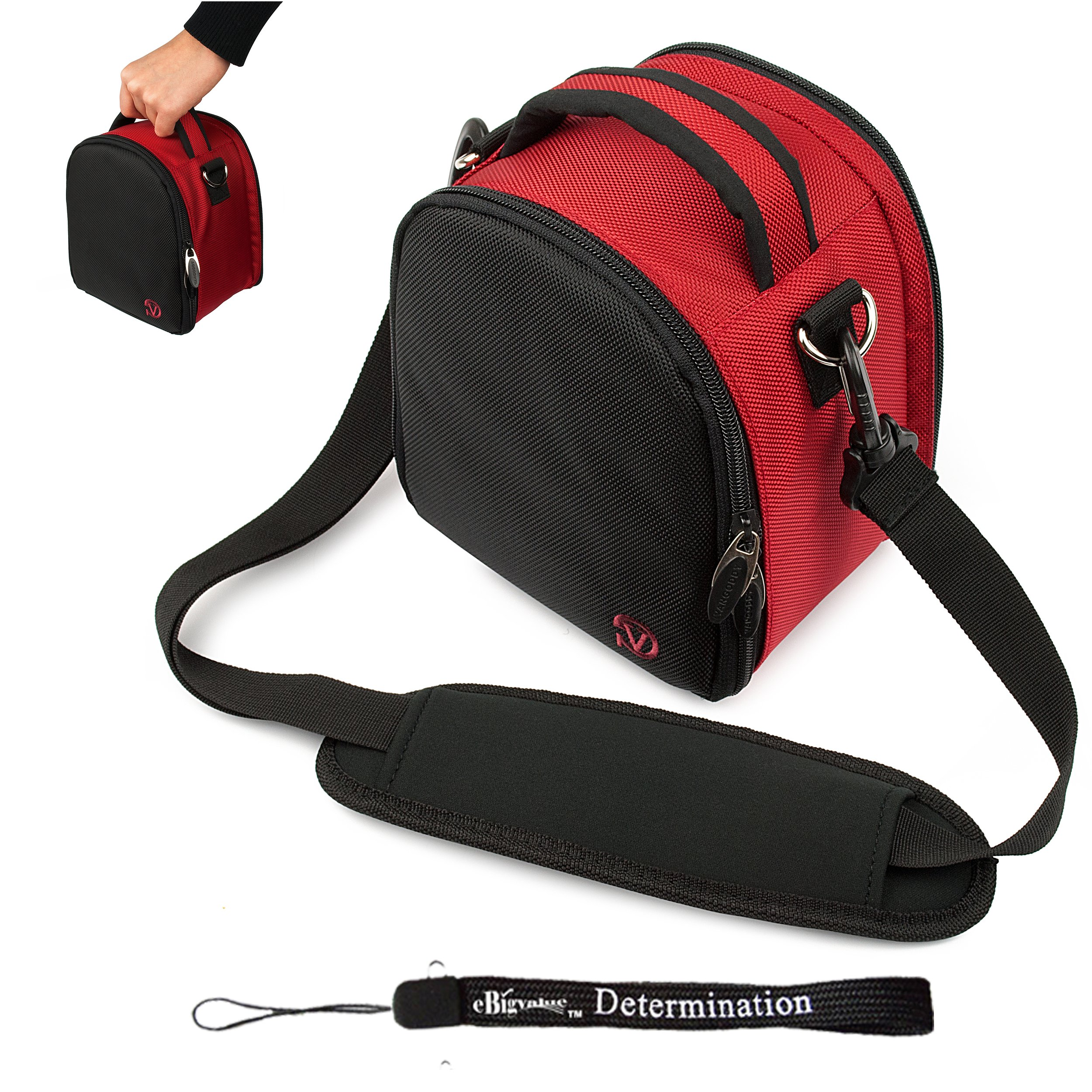 Red Slim Holster Camera Bag Carrying Case will easily hold your camera, battery charger, memory cards, and accessories For Fujifilm FinePix AV200 AX300 F300EXR F500EXR F550EXR F600EXR JV200 JX280 JX300 JX350 JX370 JX420 JZ500 T200 T300 XP20 XP30 Z90 Z800E