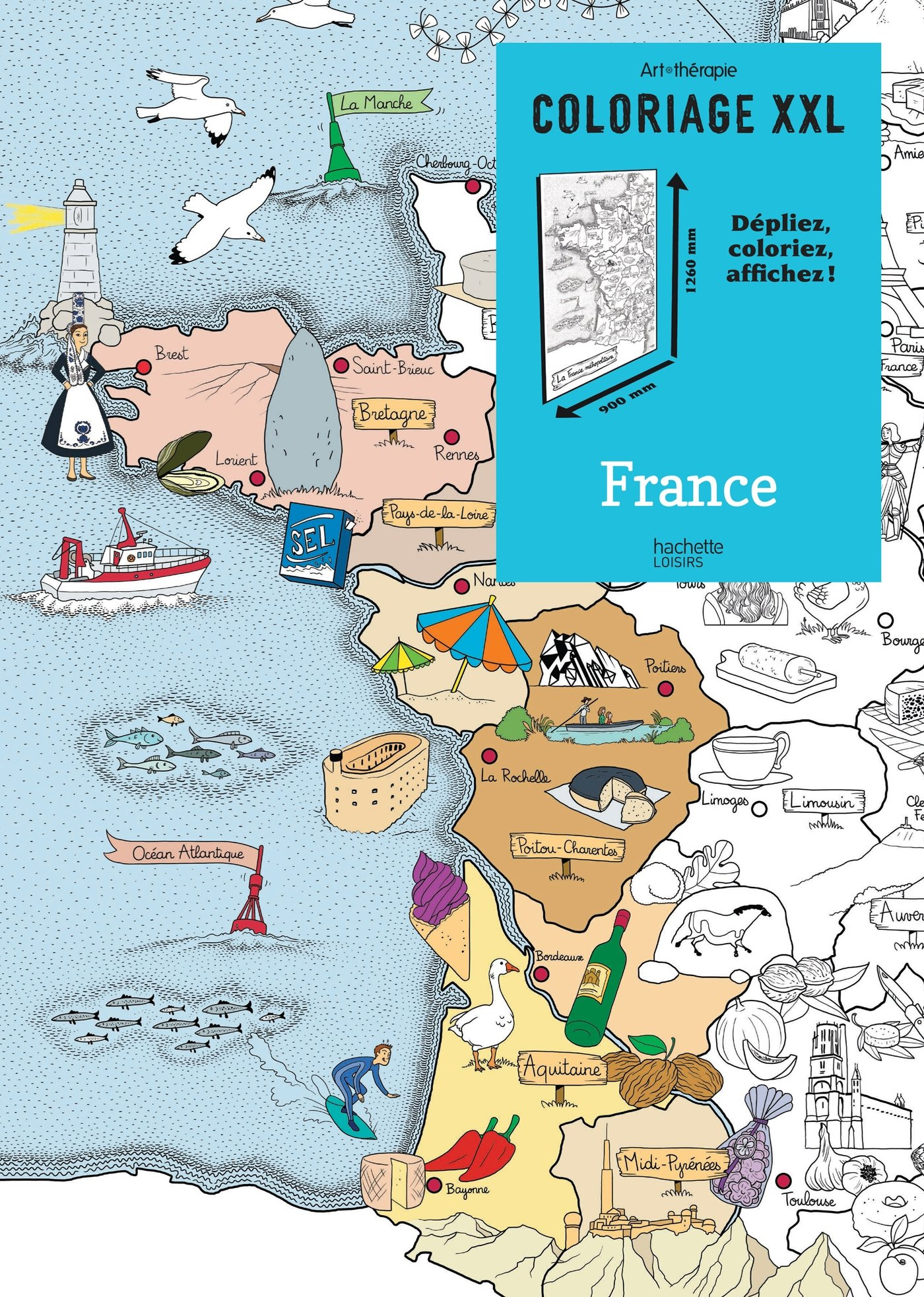 carte de france à colorier Coloriage XXL France   depliez, colorier, affichez! (Loisirs