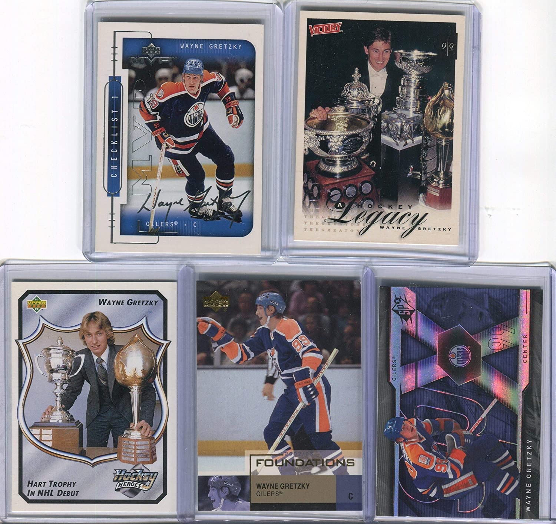 Wayne Gretzky Edmonton Oilers Assorted Hockey Cards 5 Card Lot
