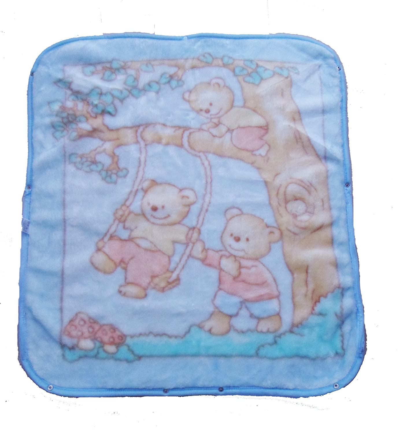 Colour Baby Blue With Printed Design Baby Wrap With Hood Luxuriously Soft Swaddle Blanket Plush Wrap
