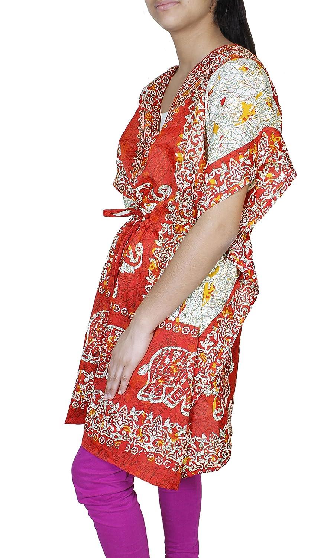 mujer de manga corta Vestido de playa de Viscosa kaftan: Amazon.es: Ropa y accesorios