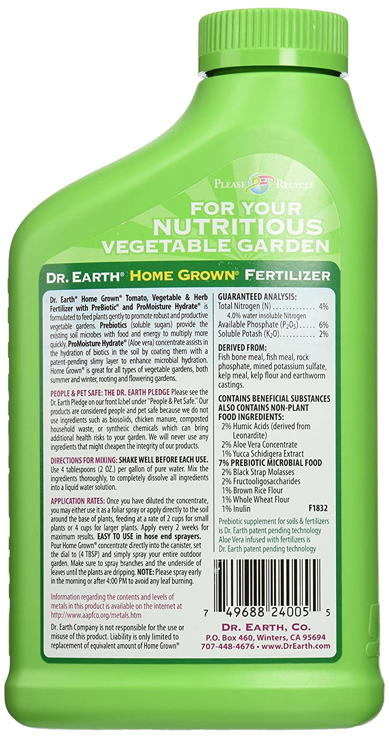 Amazon.com : Dr. Earth 1012 Home Grown Tomato, Vegetable And Herb Fertilizer,  24 Ounce : Fertilizers Organic : Garden U0026 Outdoor