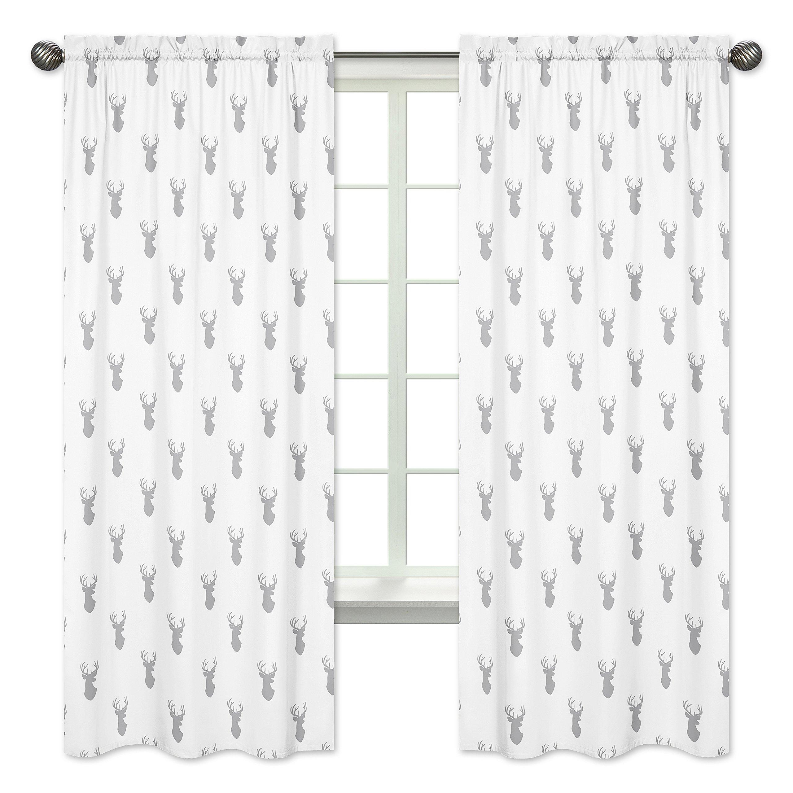 Sweet Jojo Designs 2-Piece Grey and White Woodland Deer Boys Bedroom Decor Window Treatment Panels