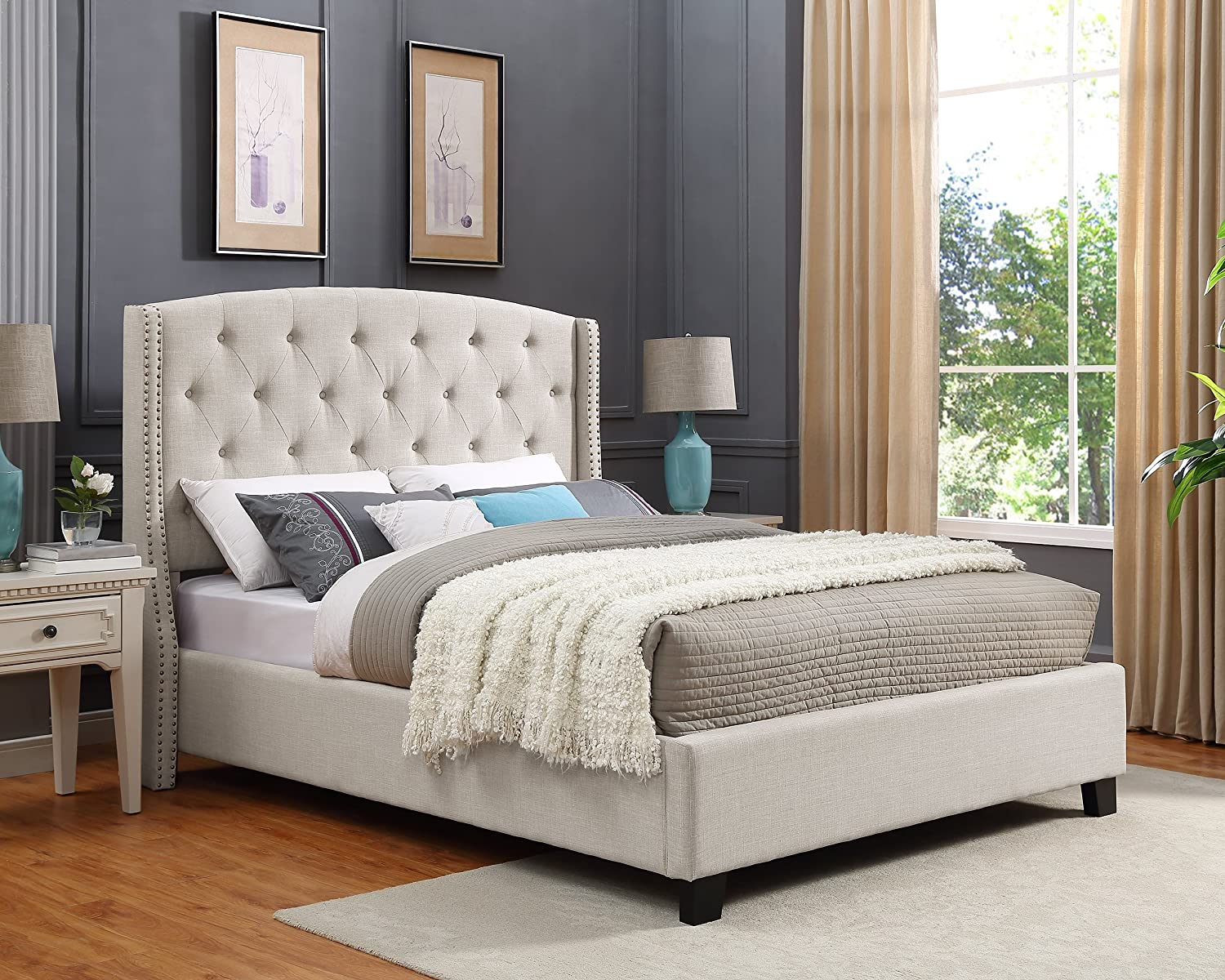 Roundhill Furniture Nantarre Fabric Tufted Wingback Upholstered Bed with Nailhead Trim, Queen, Tan